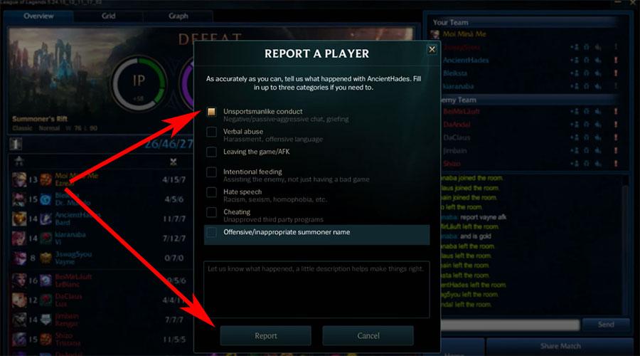 Report a Player League of Legends